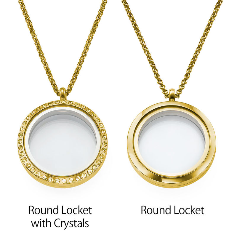 "Engraved Floating Charms Locket - ""For Mum"" with Gold Plating - 2"