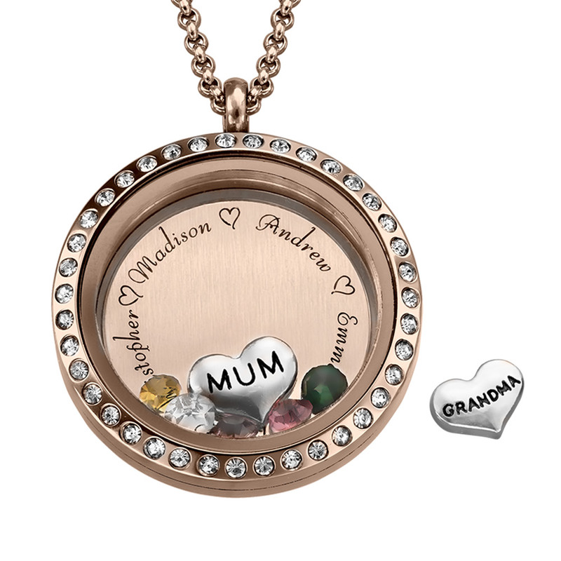 "Engraved Floating Charms Locket - ""For Mum"" with Rose Gold Plating"