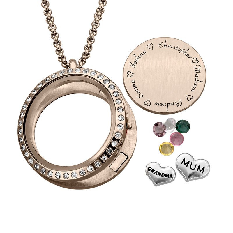 "Engraved Floating Charms Locket - ""For Mum"" with Rose Gold Plating - 1"