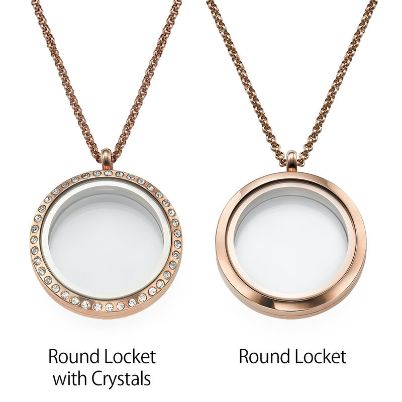 "Engraved Floating Charms Locket - ""For Mum"" with Rose Gold Plating - 2"
