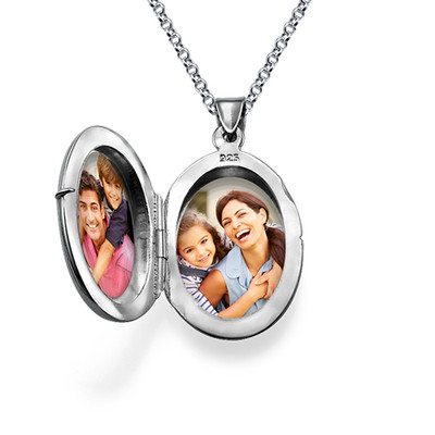 Small Engraved Locket in Sterling Silver - 1 - 2