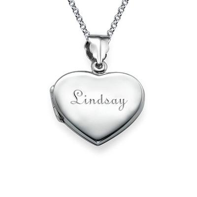 Mini Engraved Heart Locket in Sterling Silver