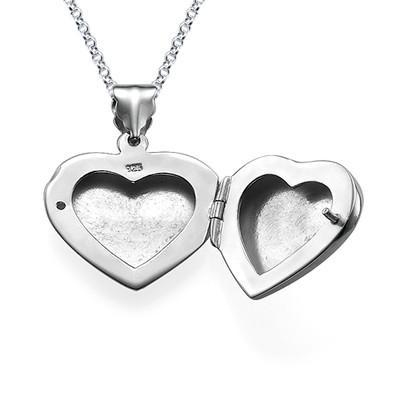 Mini Engraved Heart Locket in Sterling Silver - 1