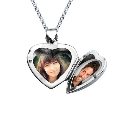 Heart Locket with Engraved Initial in Silver - 1 - 2