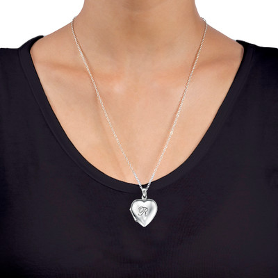 Heart Locket with Engraved Initial in Silver - 1 - 2 - 3