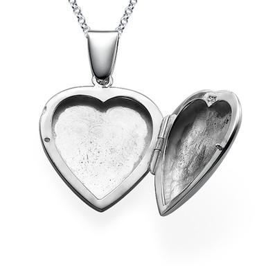 Initial Heart Locket in Sterling Silver - 1