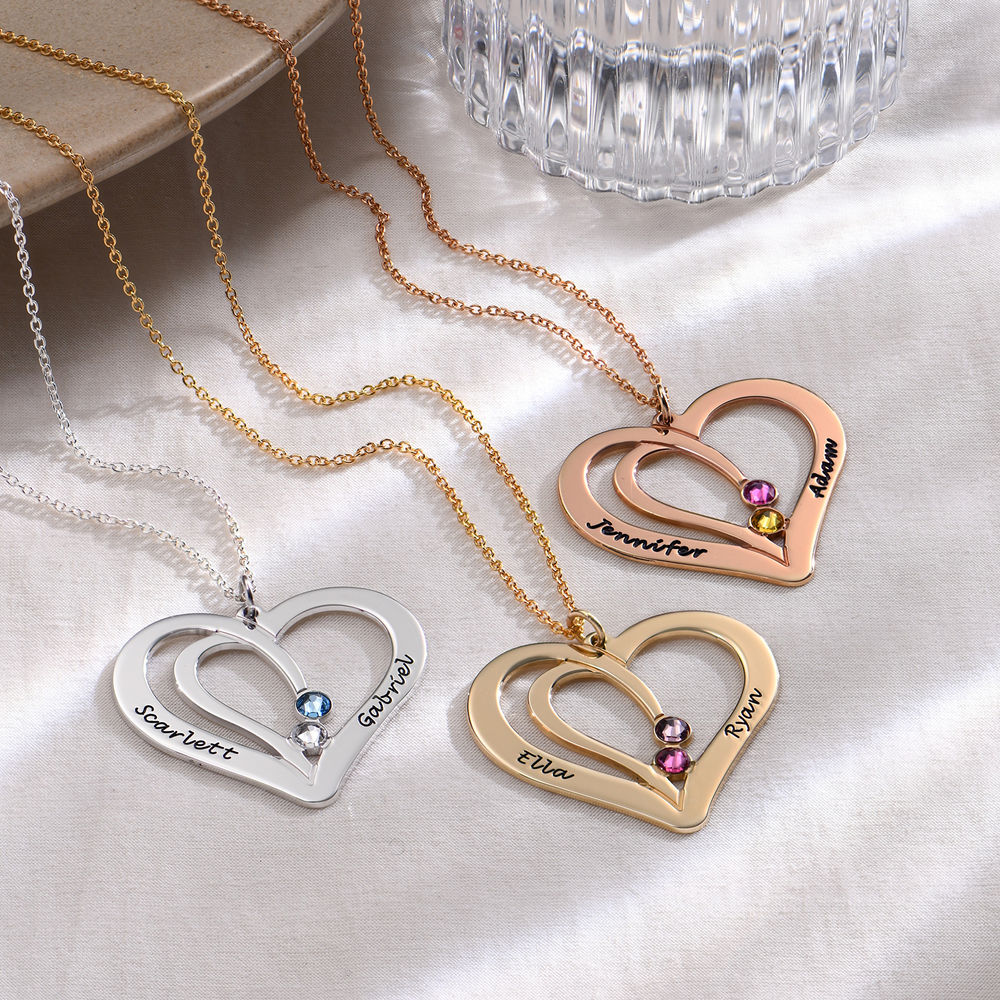 Engraved Couples Birthstone Necklace in Silver - 1