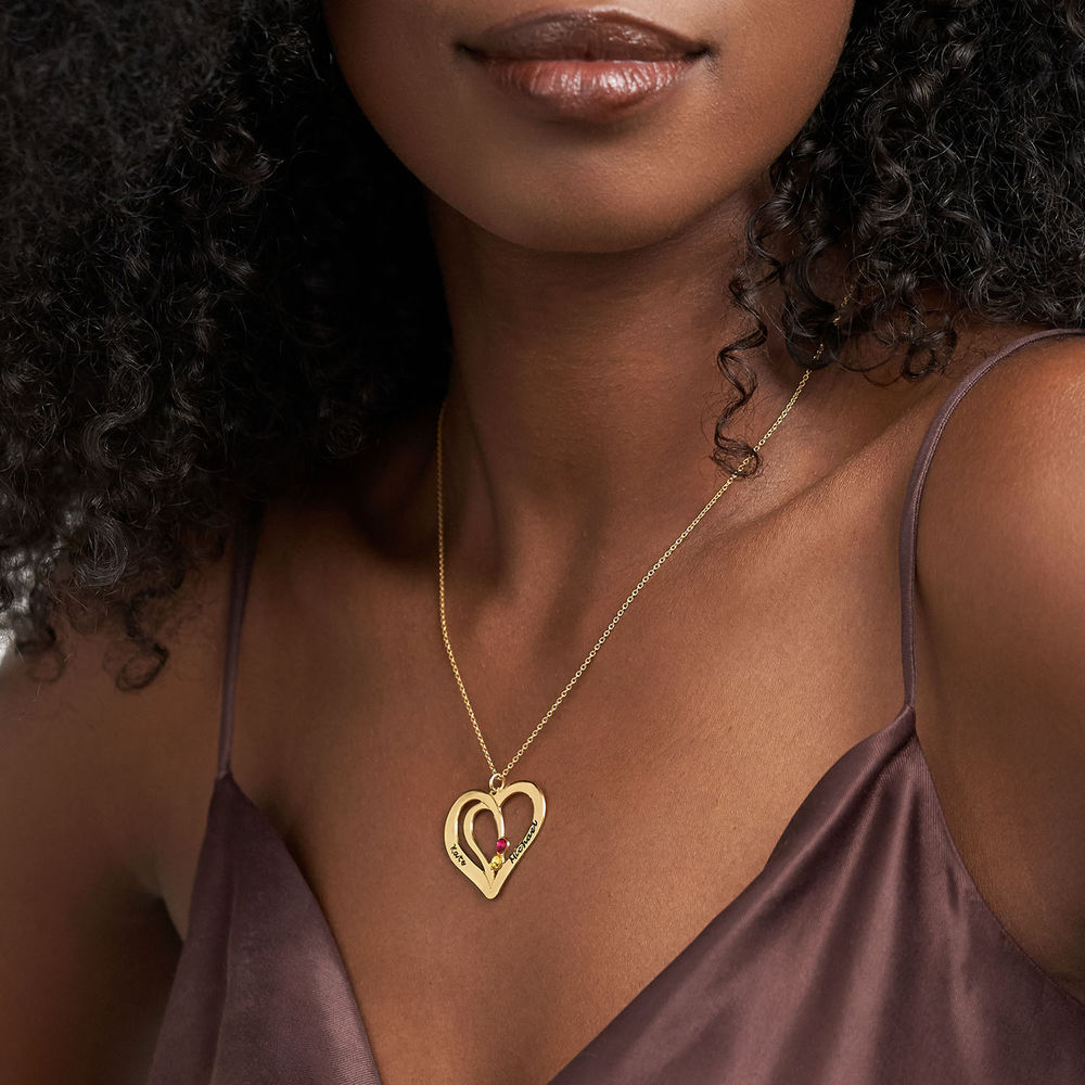 Engraved Couples Birthstone Necklace in Gold Plating - 2