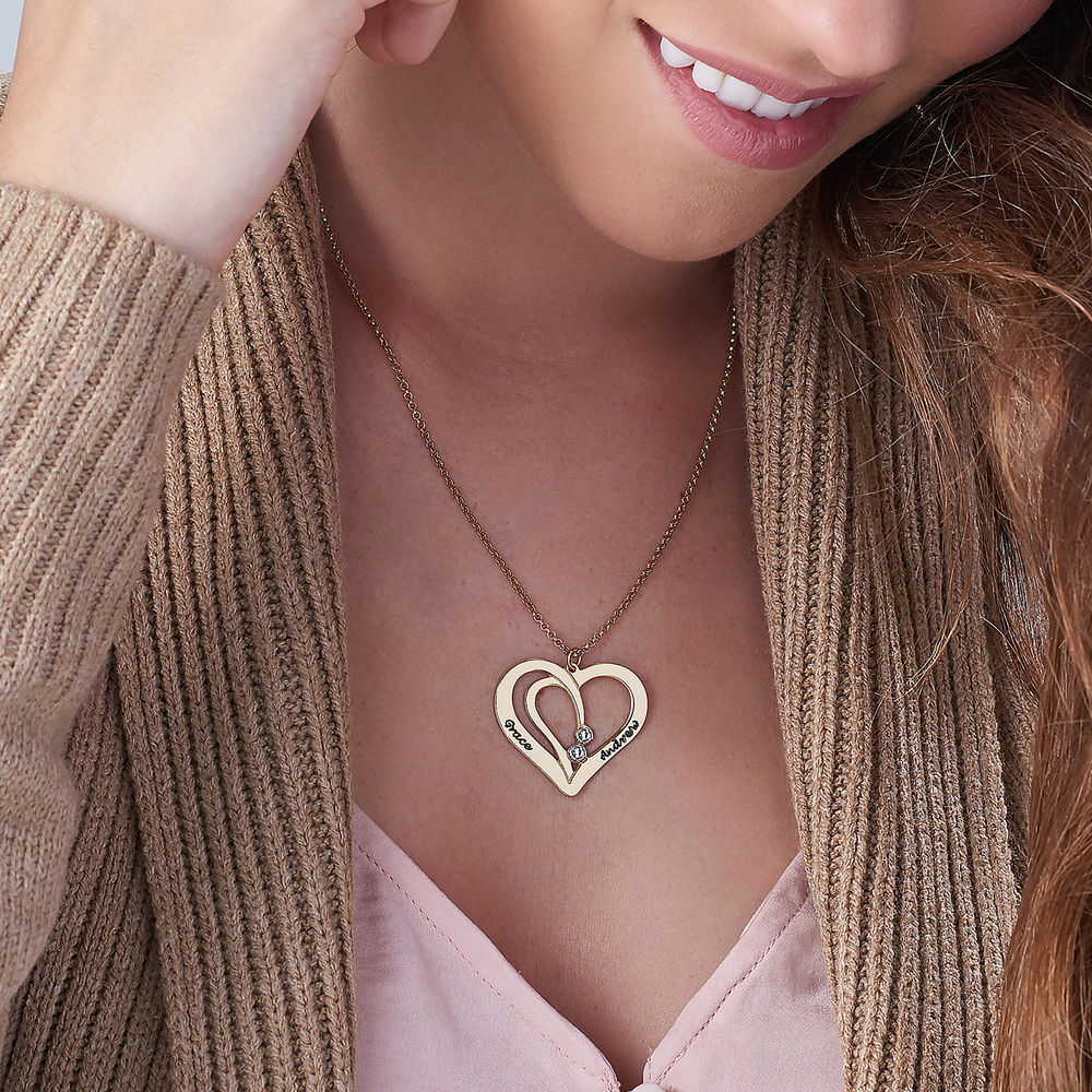 Engraved Couples Necklace in 18k Gold Plated with Diamond - 2
