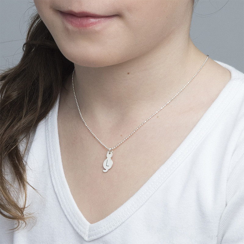 Tiny Cat Necklace with Initial in Sterling Silver - 1