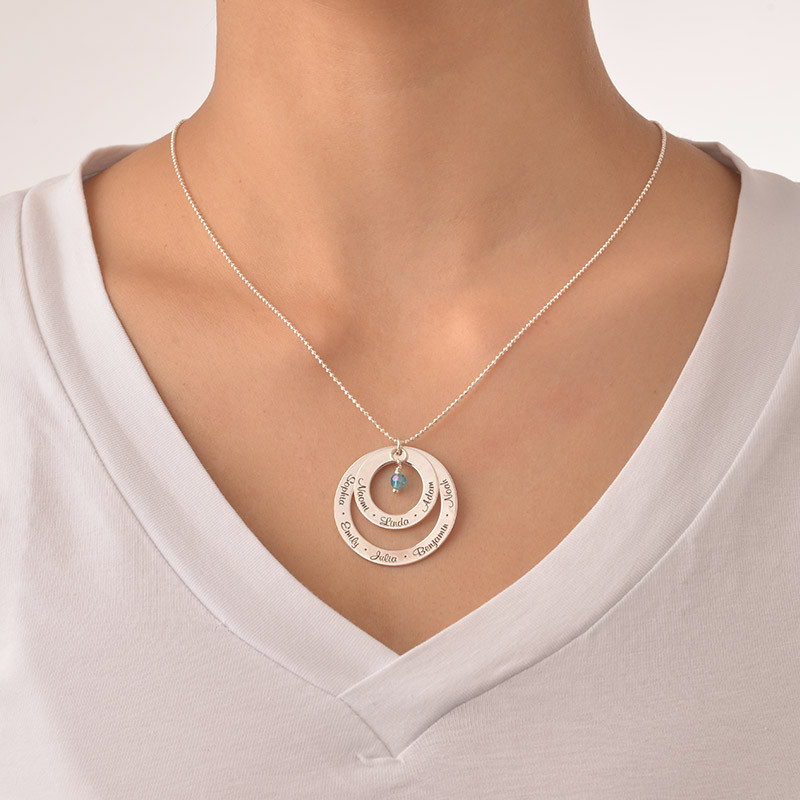 Grandma Birthstone Necklace in Silver - 1 - 2