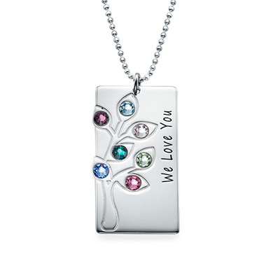 Personalised Family Tree Necklace with Birthstones