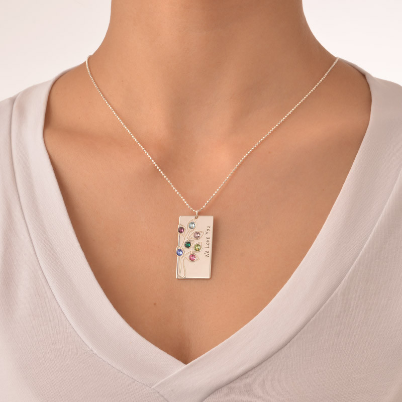 Personalised Family Tree Necklace with Birthstones - 1 - 2