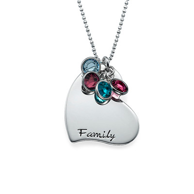 Gifts for a Mum - Engraved Heart Necklace with Birthstones
