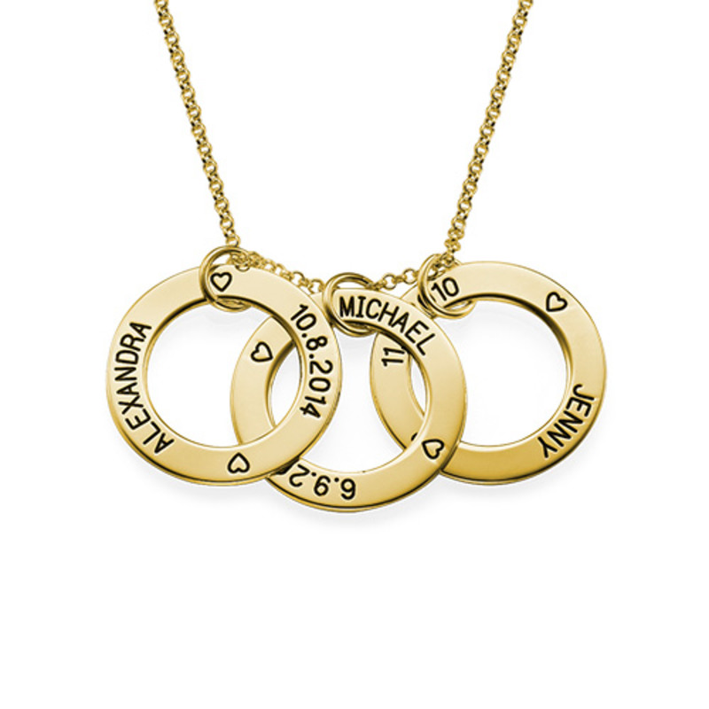 Engraved Family Circle Necklace - Gold Plated
