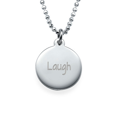 """Inspirational Jewellery - """"Laugh"""" Necklace Silver"""