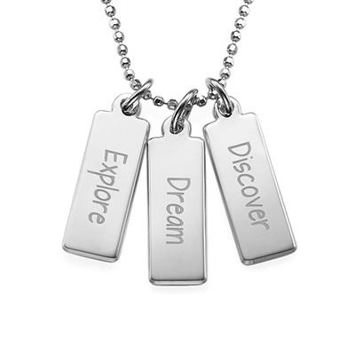 """Inspirational Necklace - """"Explore Dream Discover"""" SILVER"""