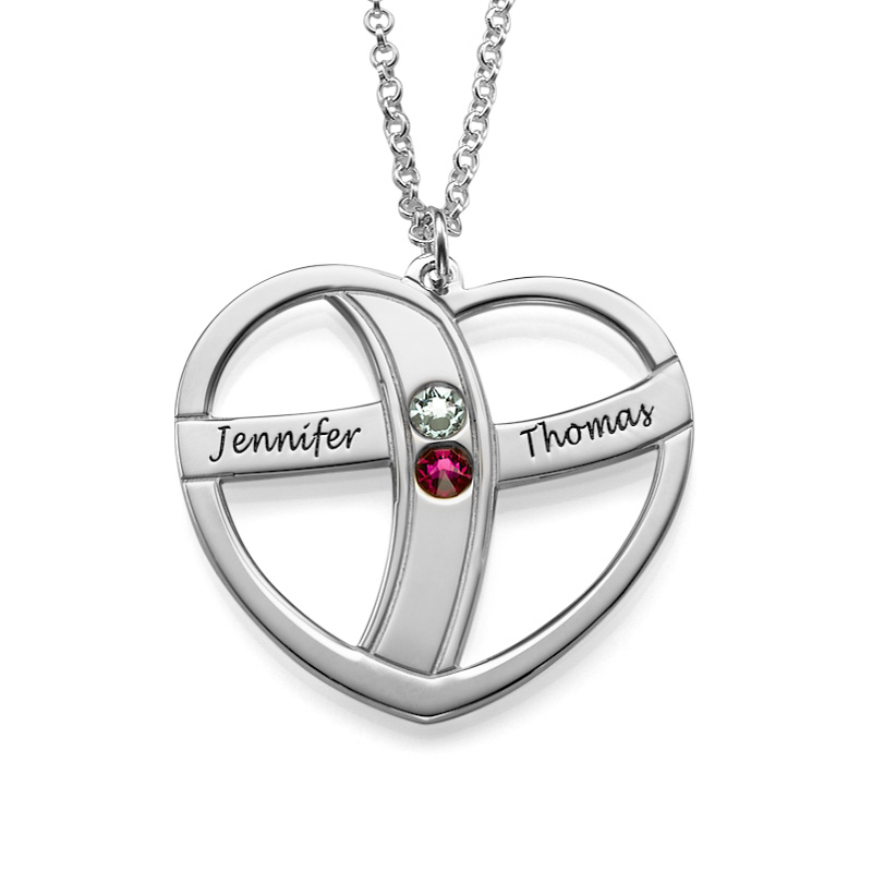 Gift for Mum - Engraved Heart Necklace with Birthstones - 1