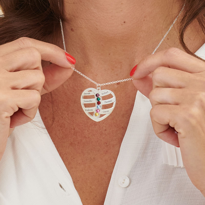 Gift for Mum - Engraved Heart Necklace with Birthstones - 3