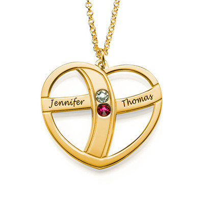Gift for Mum - Engraved Gold Heart Necklace with Birthstones - 1