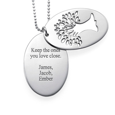 Cut Out Tree of Life Necklace with Engraving - 1