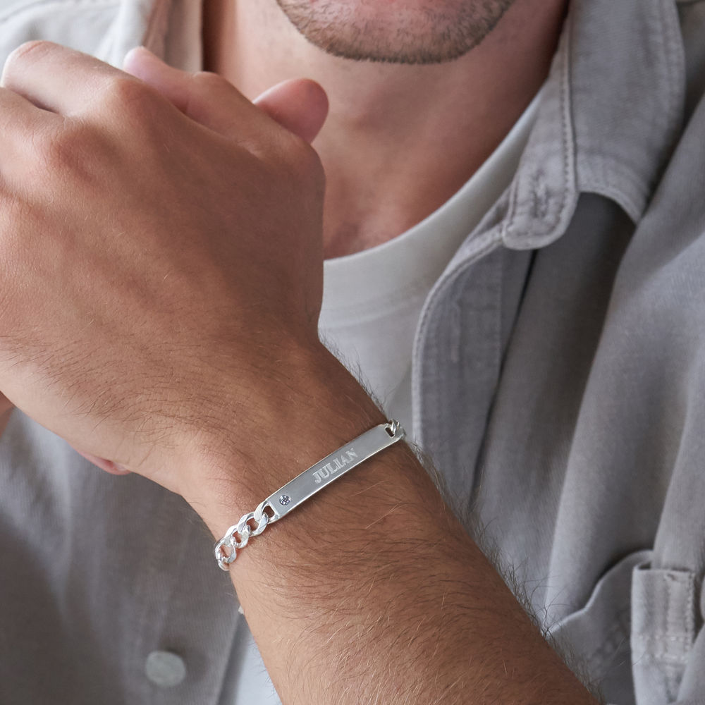 ID Bracelet for Men in Sterling Silver with Diamond - 2