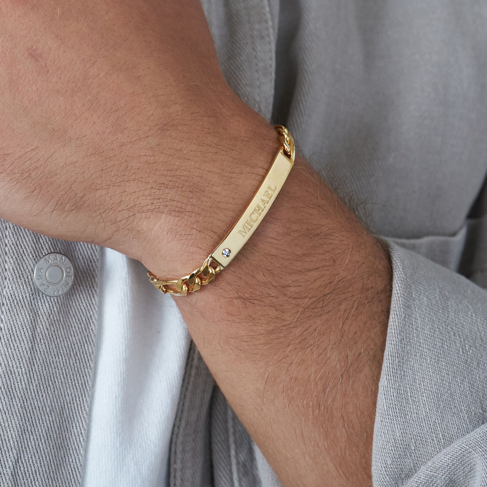 ID Bracelet for Men in Gold Plated with Diamond - 3