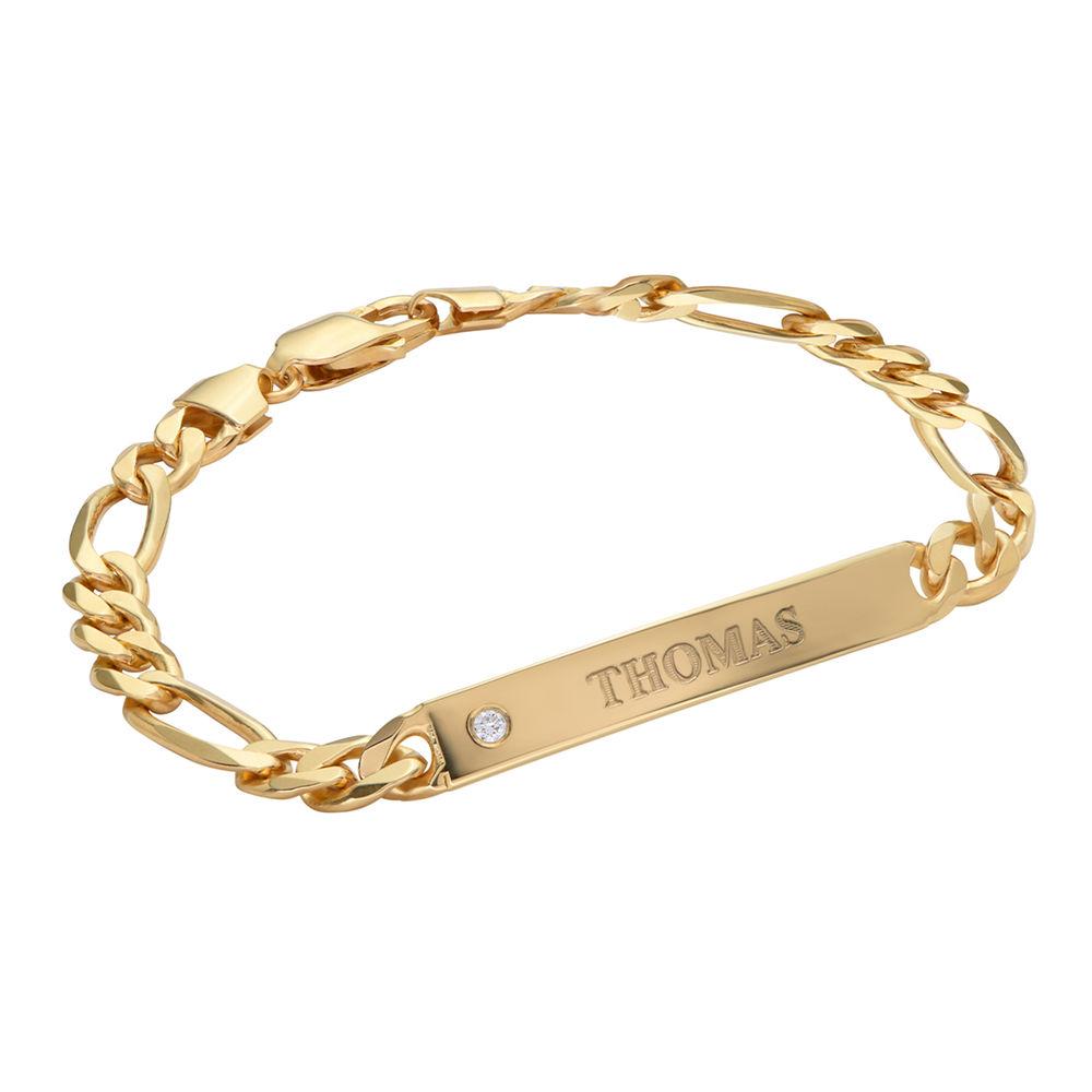 ID Bracelet for Men in Gold Vermeil with Diamond