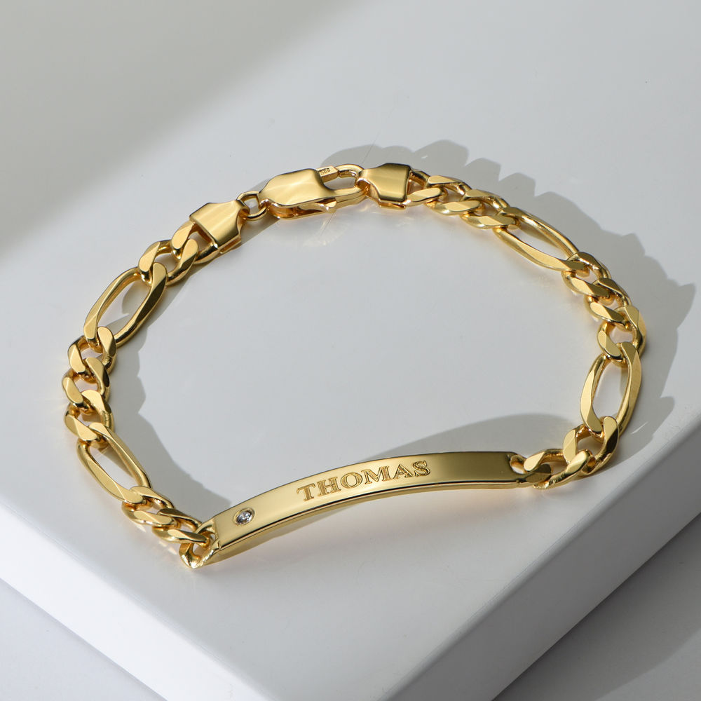 ID Bracelet for Men in Gold Vermeil with Diamond - 1
