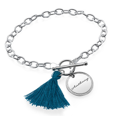 Sterling Silver Engraved Disc and Tassel Bracelet