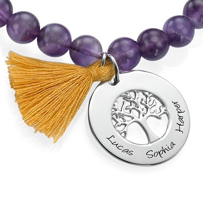 Personalised Family Tree Jewellery - Bead Bracelet with Tassel - 1