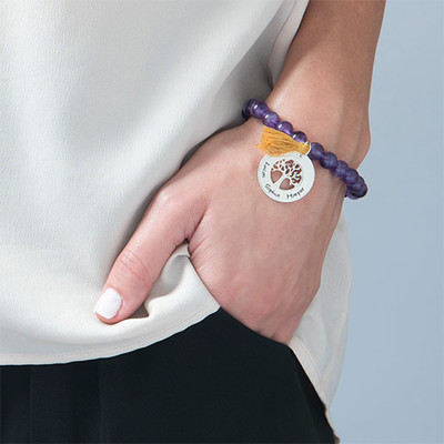 Personalised Family Tree Jewellery - Bead Bracelet with Tassel - 4