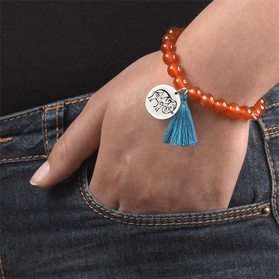 Yoga Jewellery - Engraved Elephant Bead Bracelet - 5