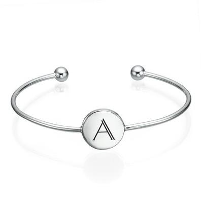 Initial Bangle Bracelet - Sterling Silver - Adjustable