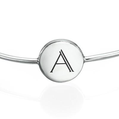 Initial Bangle Bracelet - Sterling Silver - Adjustable - 1