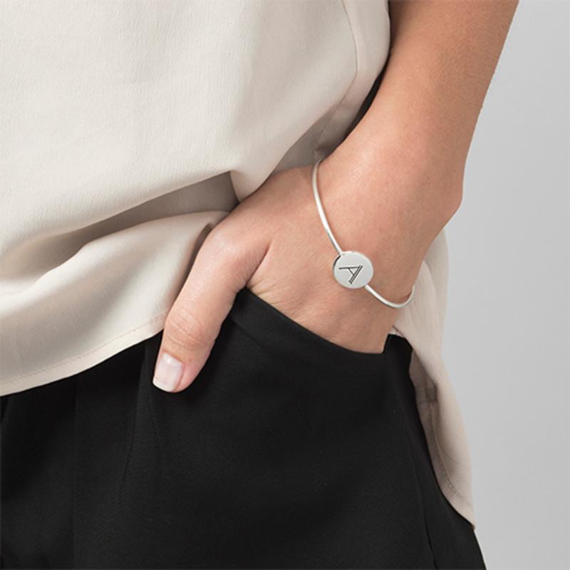 Initial Bangle Bracelet - Sterling Silver - Adjustable - 1 - 2