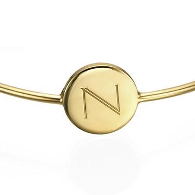 Initial Bangle Bracelet - 18ct Gold Plated - Adjustable - 1