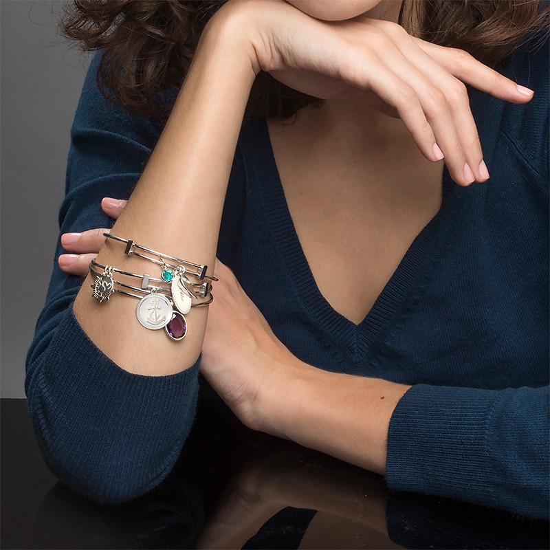 Set of 2 Friendship Bangle Bracelets with Charms - 5