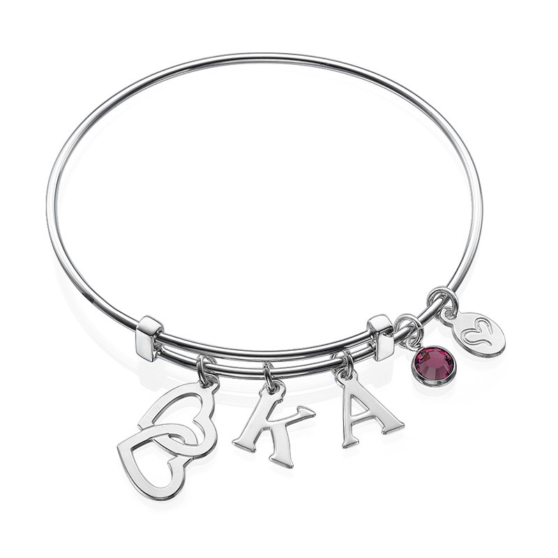 Bangle Charm Initial Bracelet with Intertwined Hearts