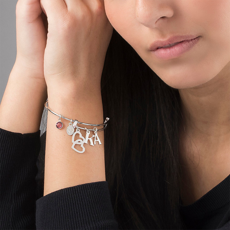 Bangle Charm Initial Bracelet with Intertwined Hearts - 2