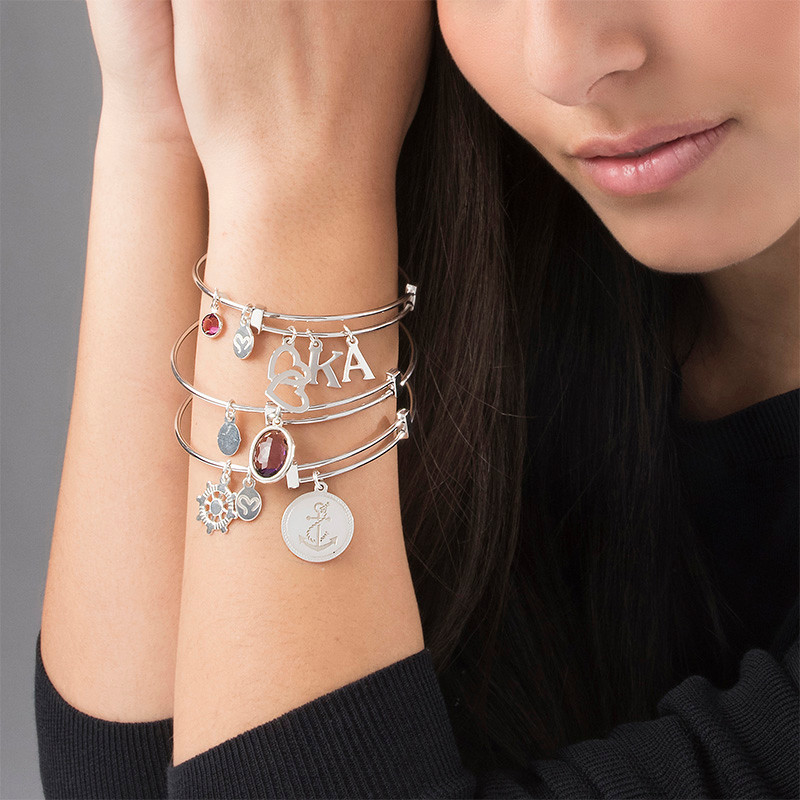 Bangle Charm Initial Bracelet with Intertwined Hearts - 3