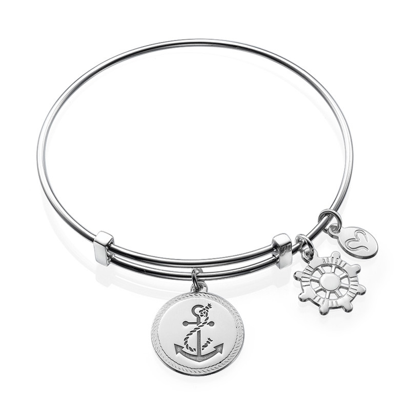 Bangle Bracelet with Anchor Charm