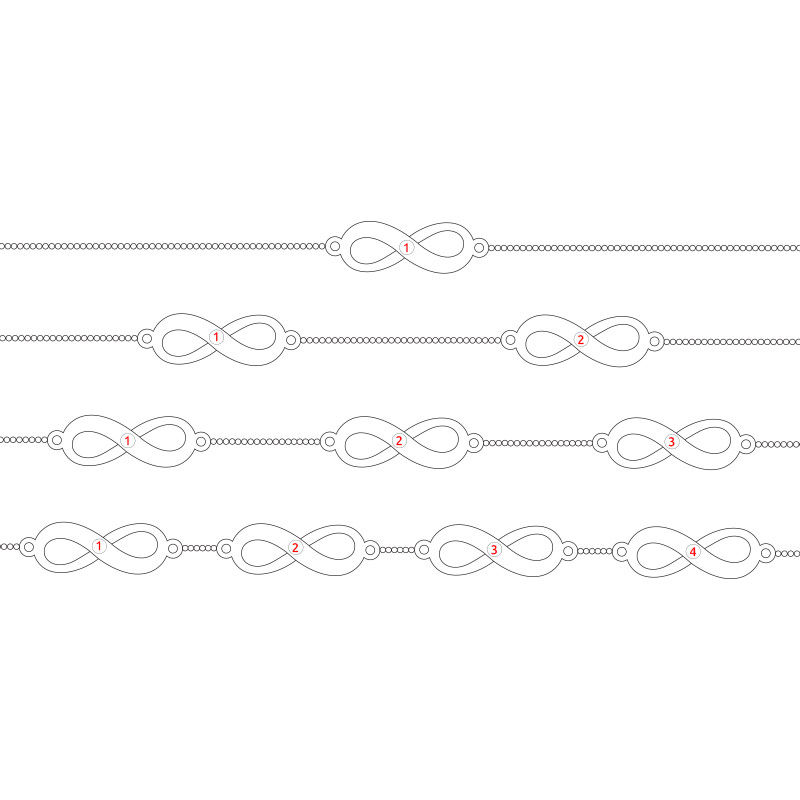 Multiple Infinity Bracelet in Silver - 1 - 2 - 3 - 4 - 5 - 6