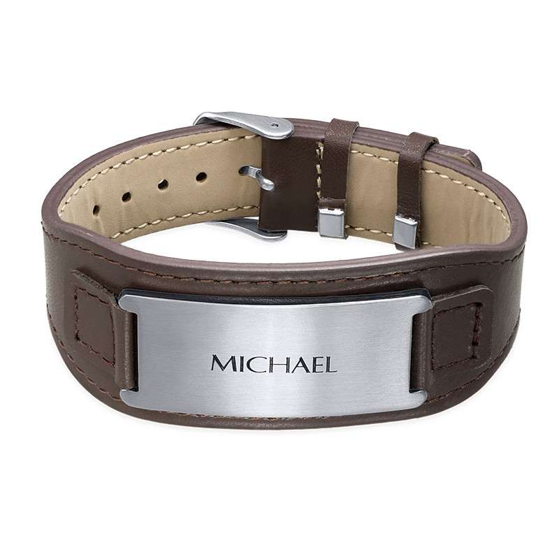 Men's ID Bracelet in Brown Leather