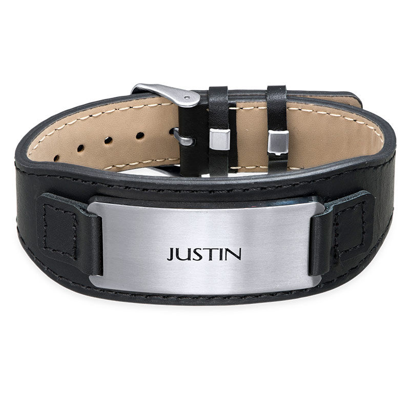 Men's ID Bracelet in Black Leather - 1