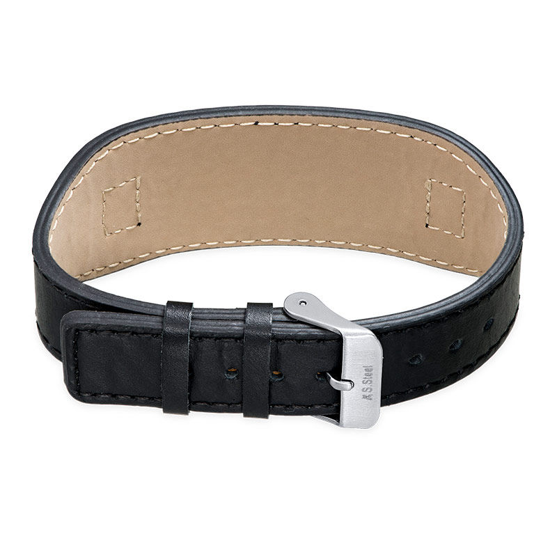 Men's ID Bracelet in Black Leather - 1 - 2