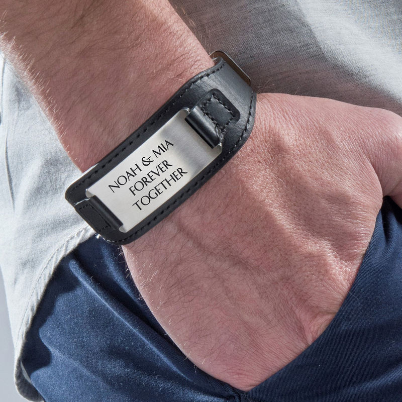 Men's ID Bracelet in Black Leather - 3