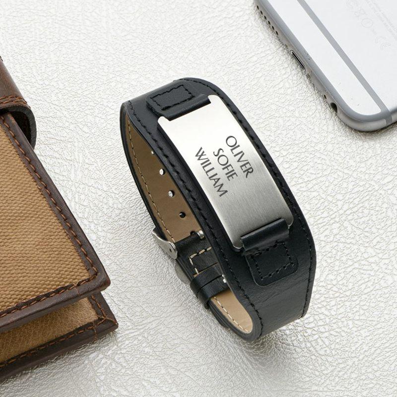 Men's ID Bracelet in Black Leather - 5