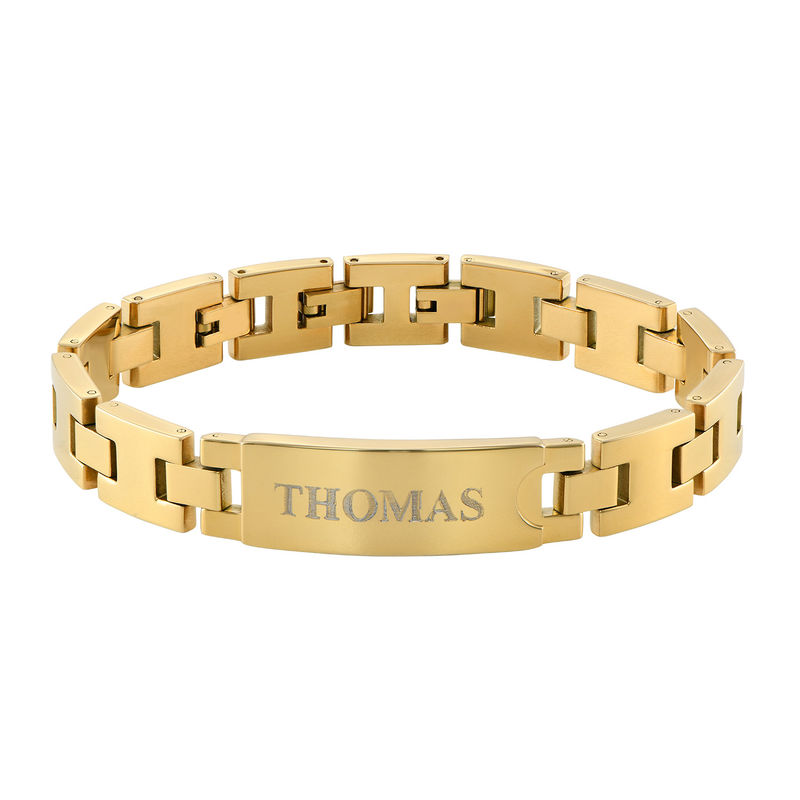 Gold Plated Stainless Steel Men's Bracelet with Engraving