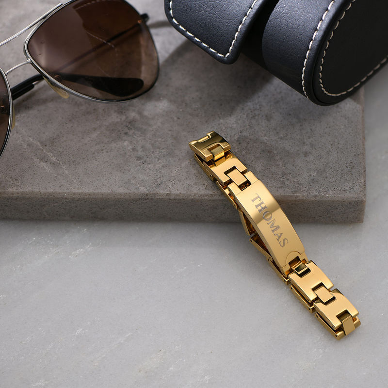 Gold Plated Stainless Steel Men's Bracelet with Engraving - 3